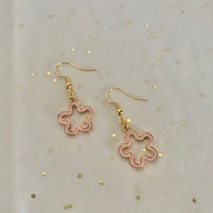 Pink Floral Design Earrings by The Tangled Cotton